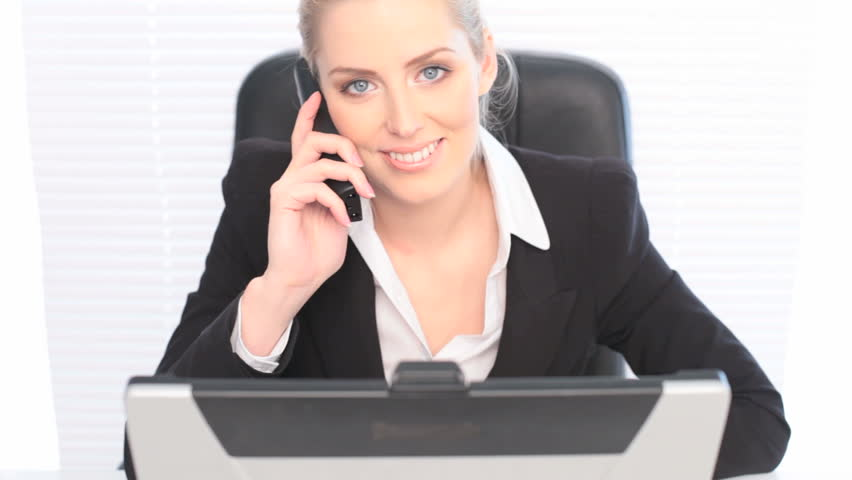 Happy Businesswoman On Cell Phone Stock Footage Video 100 Royalty Free 1729465 Shutterstock