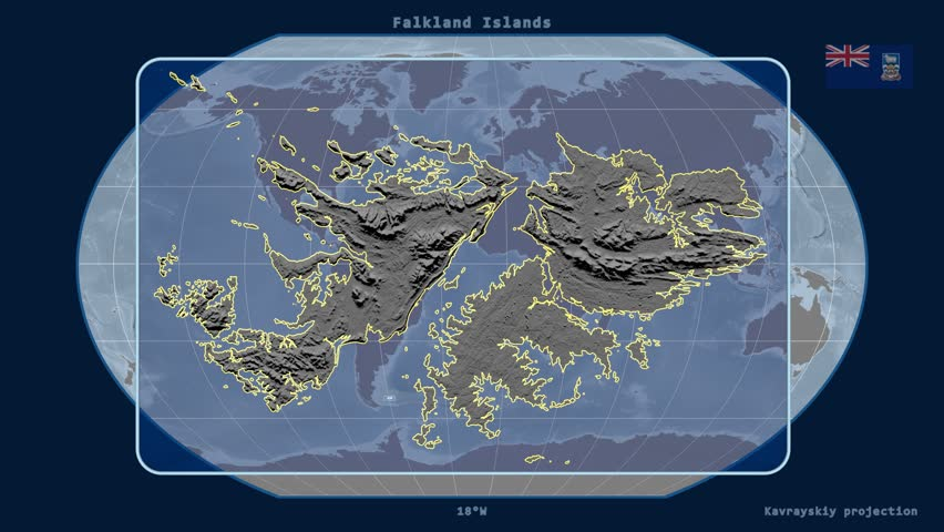 Zoomedin View Of A Falkland Islands Outline With Perspective Lines