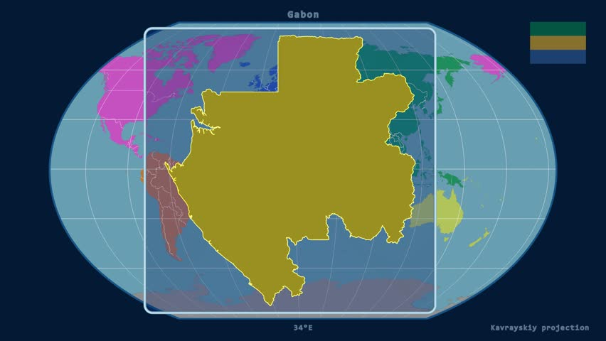 Zoomedin View Of A Gabon Outline With Perspective Lines Against A - Gabon blank map