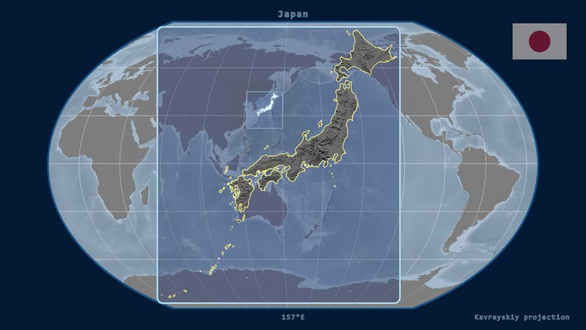 Zoomed in view of a japan outline with perspective lines against a zoomed in view of a japan outline with perspective lines against a global elevation map gumiabroncs Images