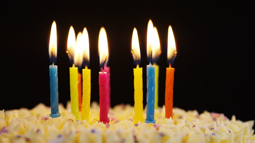 Third Birthday Cake And Three Birthday Candles Stock Footage Video