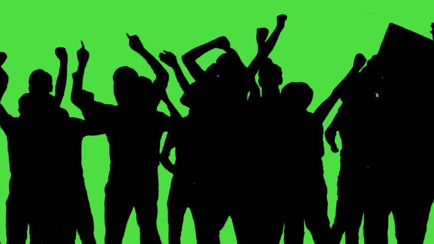 Crowd of fans dancing on green screen. Concert, Jumping, Dancing, Hands up.