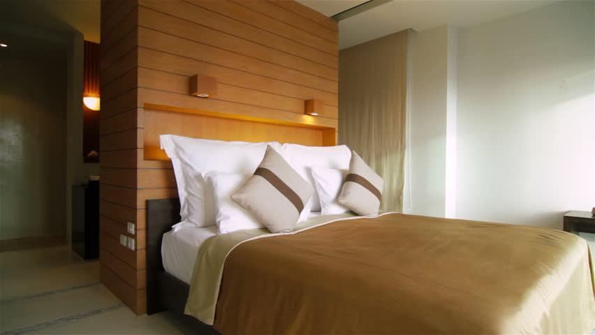 Luxury bedroom tracking shot