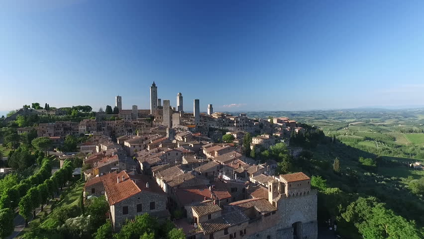 Aerial: Flight over a mediaeval town of Fine Towers, San Gimignano, Tuscany, Italy | Shutterstock HD Video #17422735