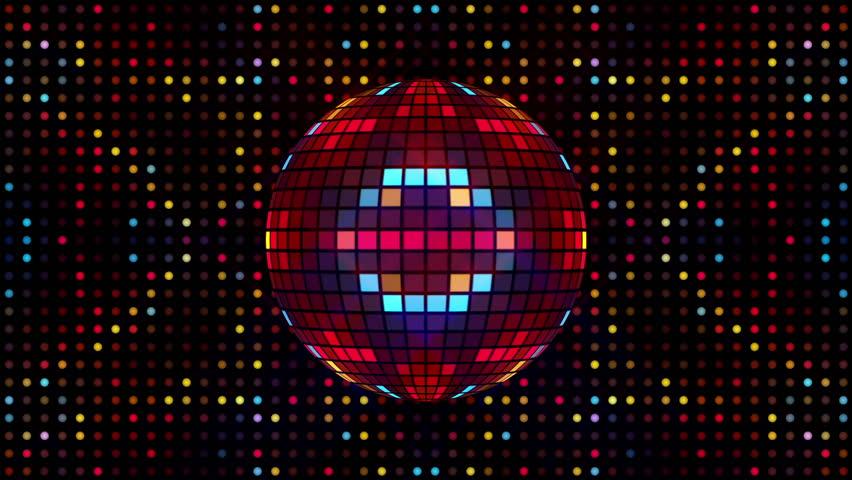 Rotating Multicolor Led Disco Ball. Glittering Mirror Ball