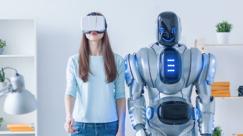 Nice woman repeating motions after robot