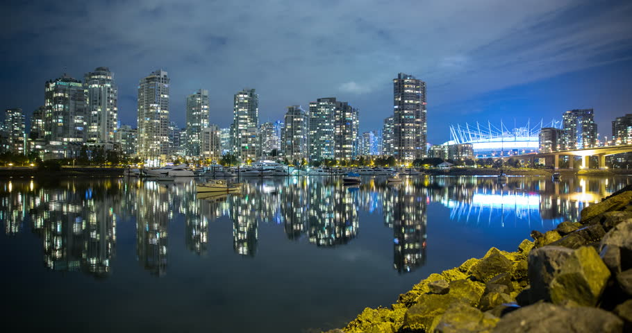 Vancouver British Columbia Canada View Over False Creek Of Illuminated Science World In
