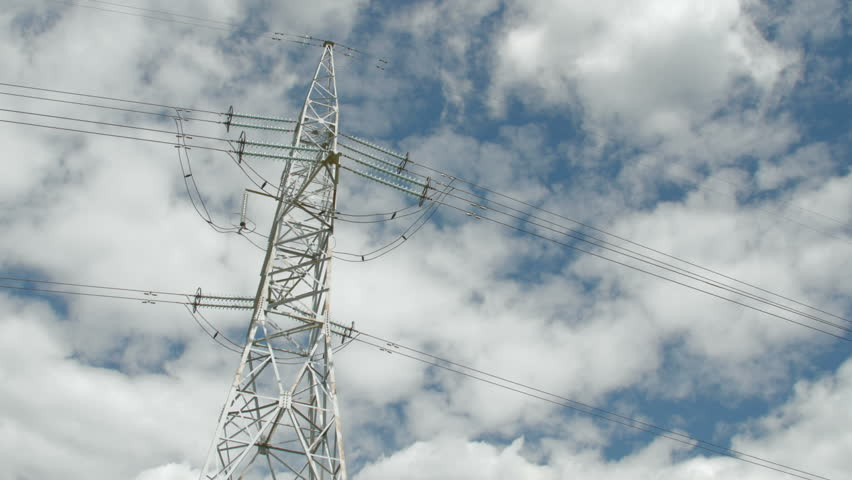 High Voltage Towers With Cloudy Sky Background. Day Static Shot ...