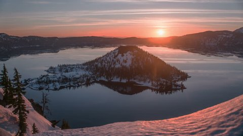 Sunrise, wide angle landscape time lapse Crater Lake National Park, Oregon, Winter Snow