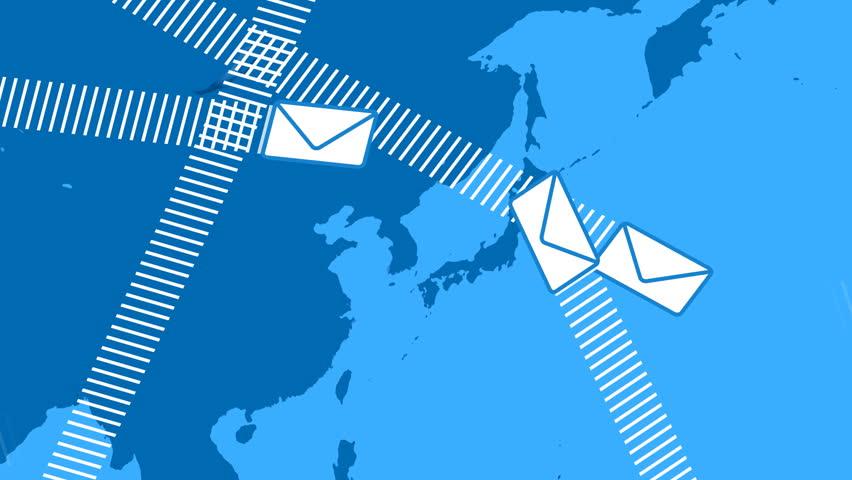 Email Envelopes Flying Around the World