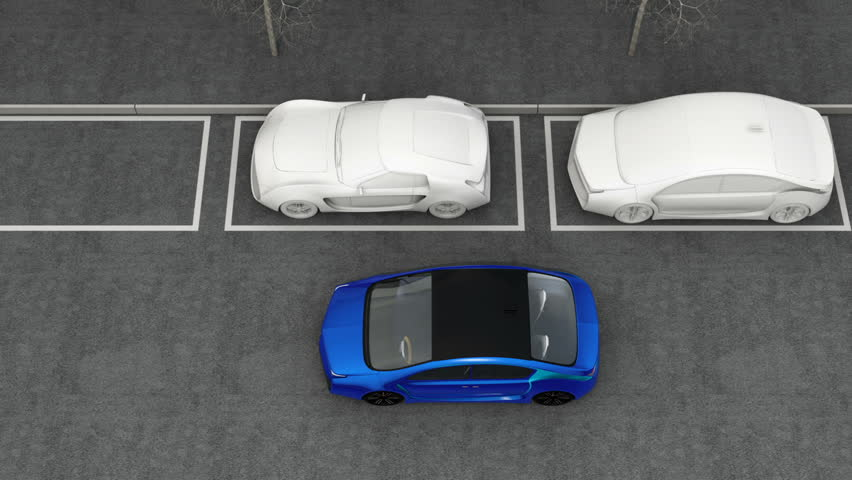 Blue electric car driving into parking lot navigated with parking assist system. 3D rendering animation.