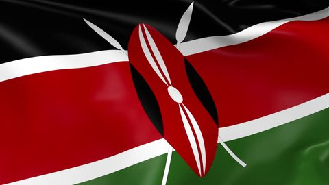 Photo realistic slow motion 4KHD flag of the Kenya waving in the wind. Seamless loop animation with highly detailed fabric texture in 4K resolution.