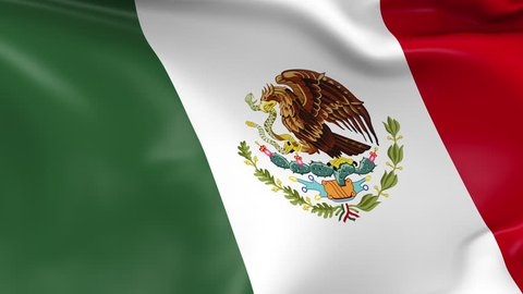 Photo realistic slow motion 4KHD flag of the Mexico waving in the wind. Seamless loop animation with highly detailed fabric texture in 4K resolution.