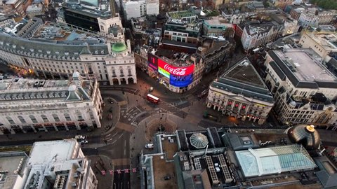 LONDON, UK - JUNE 20, 2016: Aerial view of Piccadilly Circus on June 20, 2016 in London, England. Aerial stock footage orbiting Piccadilly Circus feat. Regent Street and Leicester Square 4K