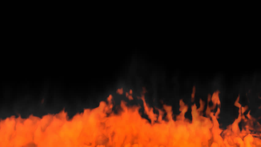Animated slowly rising fire in windy condition. Fire travels toward camera. Transparent background . Alpha channel embedded with 4k PNG file. #17490595
