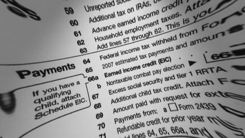 Irs W-4 Tax Form Macro Stock Footage Video (100% Royalty