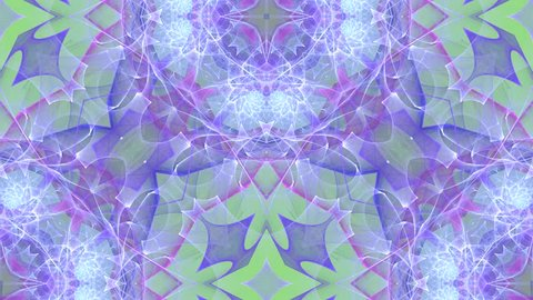 Abstract loop motion background, variegated kaleidoscope
