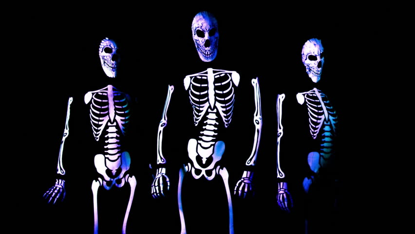 Three funky disco Halloween characters dance together in skeleton costumes | Shutterstock HD Video #17577346