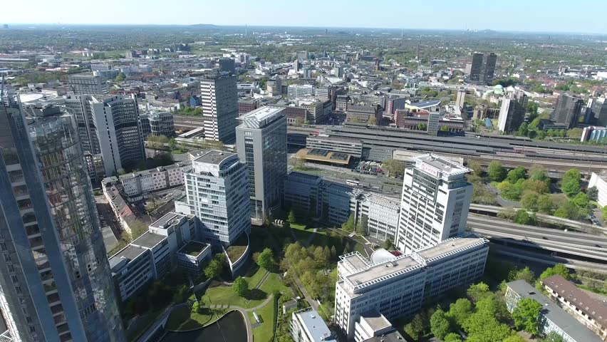 Office Buildings in the Heart of the City of Essen Close to Highway