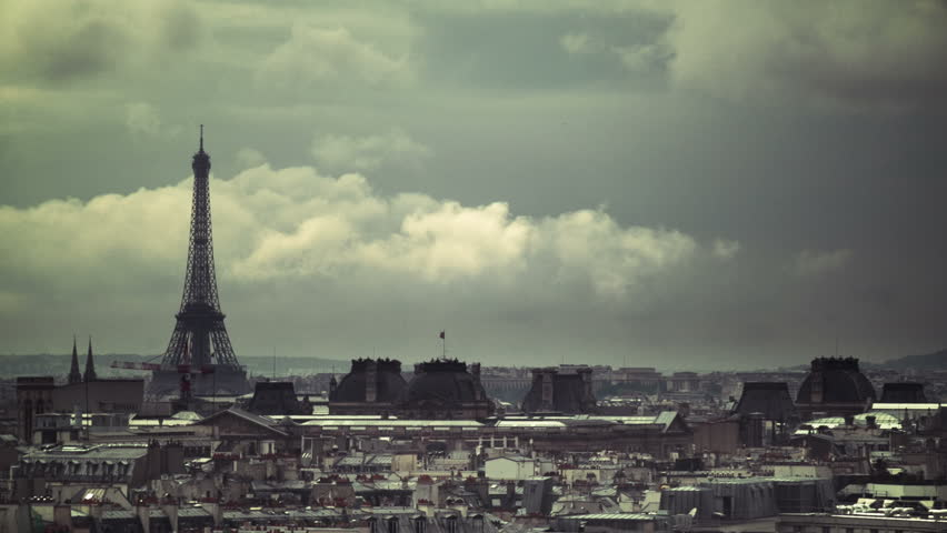 Timelapse Eiffel Tower over Paris Rooftops | Shutterstock HD Video #1759265