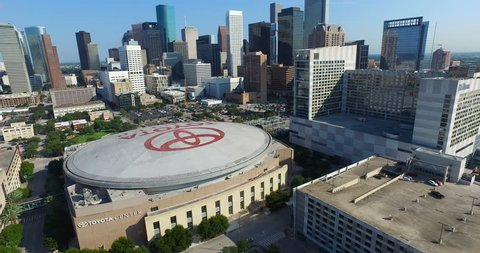 Houston, Texas / USA. November 19, 2015. Aerial shot from the East side of downtown Houston. You can clearly see The Toyota Center.