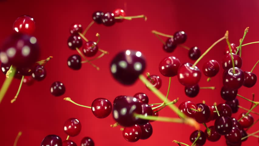 Close-up of cherry rotates in the air on a red background
