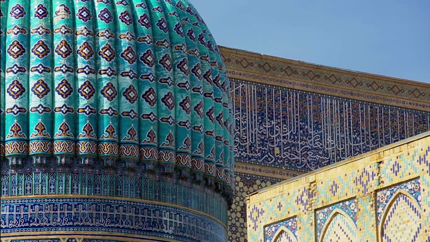 Beautiful view of the ancient Shah-i-Zinda complex  on a sunny summer day  in Samarkand, Uzbekistan.   | Shutterstock HD Video #17656735