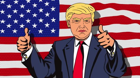 January 18, 2016: Character animation Portrait Republican presidential candidate Donald Trump giving a speech on the background of an emerging USA flag in the style of pop art. Animation loop.