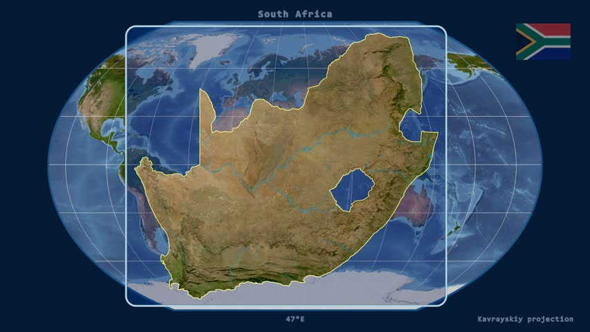 Zoomed-in view of a South Africa outline with perspective lines against a global satellite map in the Kavrayskiy VII projection