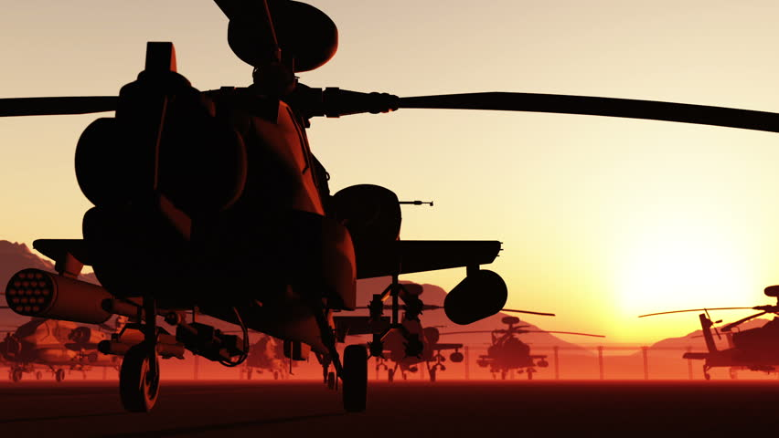 Apache AH-64D attacking helicopters base in the sunset sunrise Realistic 3D render dolly motion