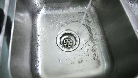 water drop in steel sink and draining