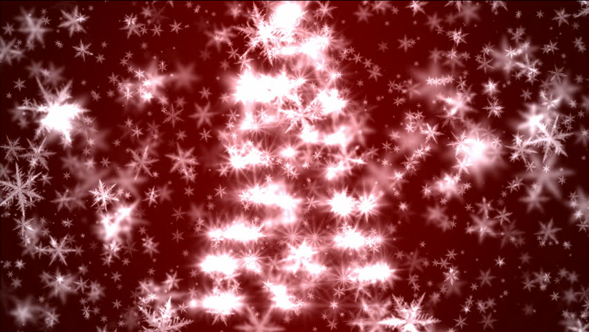 Christmas tree with falling snow on red background