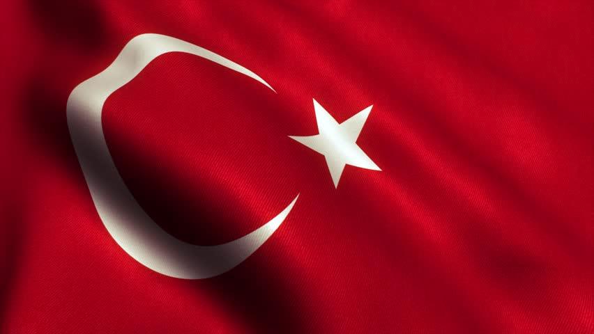 Turkey - Turkish Flag. Seamless Looping Animation. 4K High Definition Video