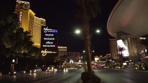 4K ES Las Vegas Strip Skyline CIRCA 2016 -  Las Vegas skyline framed by luxury resort hotels and casinos. Filmed using Sony FS-5 w/ Zeiss 28mm Prime Lens in 4K UHD Native Resolution at 30P.
