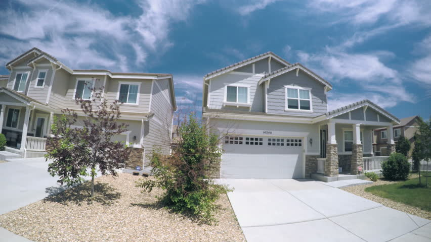 Parker, Colorado, USA-June 29, 2016. Car driving through residential neighborhood in Suburbia.-POV point of view.
