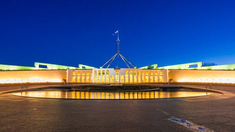 4k hyperlapse video of Parliament House in Canberra, Australia from day to night