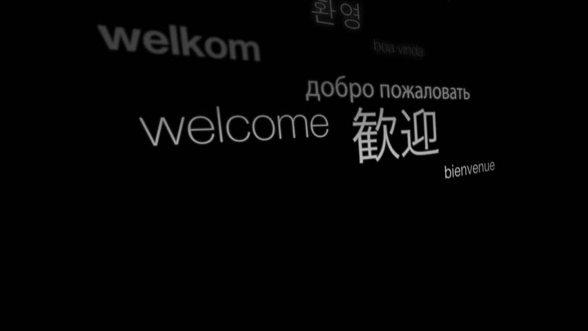 Welcome, International Languages Text Animation