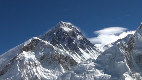 View of mount Everest from Kala Patthar. Time-lapse