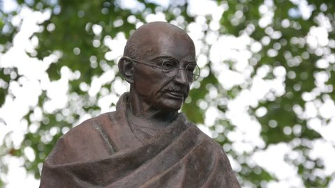 Statue of Mahatma Gandhi on Parliament square, London Close up