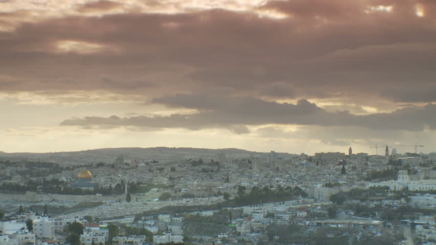 Timelapse clouds moving over Jerusalem