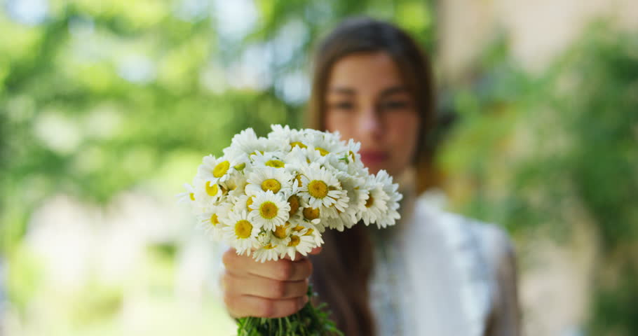 A young girl sniffs and shows the room a bunch of daisies flowers . The happy girl smiles and happy because the daisy are beautiful and freshly picked from the lawn. concept of happiness for nature | Shutterstock HD Video #17917585