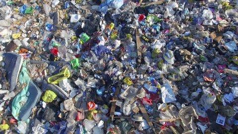 Aerial over landfill full of trash
