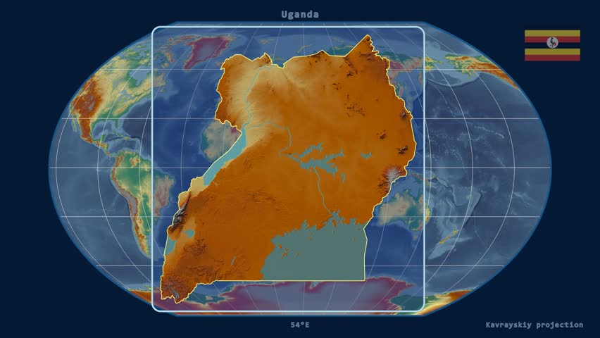 Uganda Shape Animated On The Physical Map Of The Globe Stock Footage