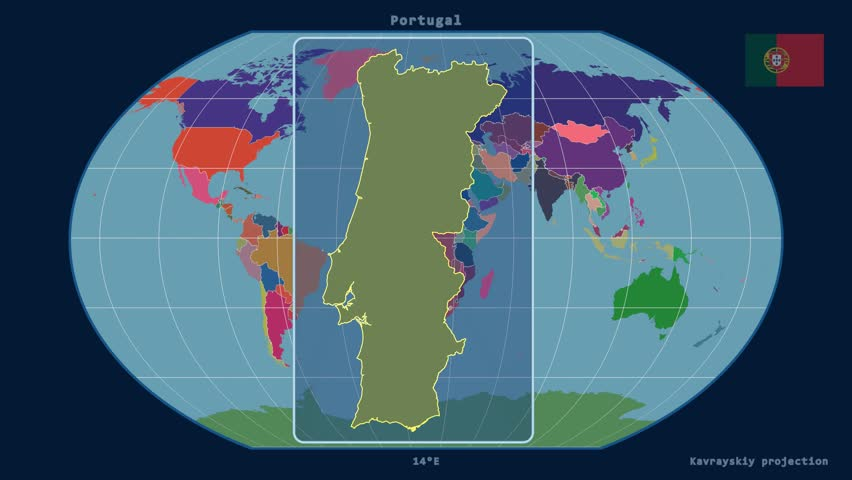 Zoomedin View Of A Portugal Outline With Perspective Lines - Portugal globe map