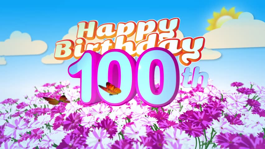 Happy 100th birthday card with a field of flowers while two little happy 100th birthday card with a field of flowers while two little butterflys circulating around the logo twenty seconds seamless looping animation bookmarktalkfo