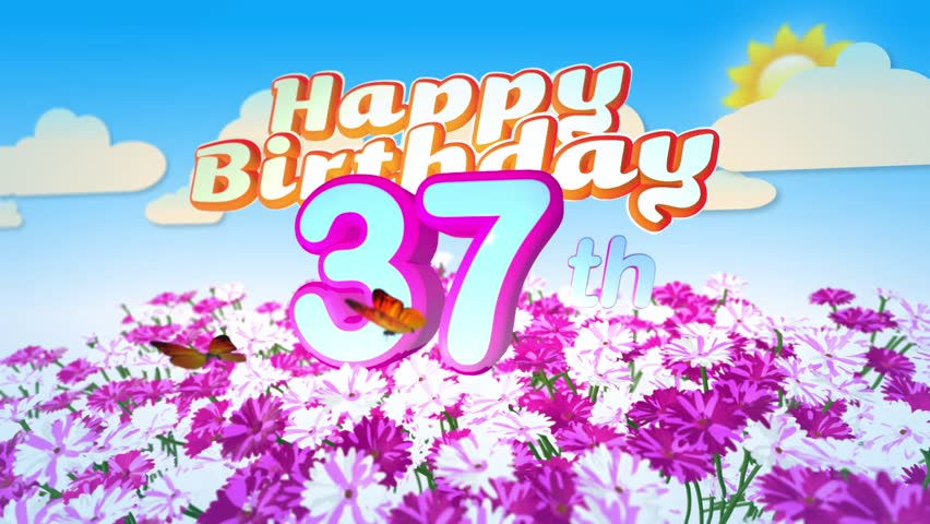 Stock video of animated happy 7th birthday card with a field of animated happy 37th birthday card with a field of flowers while two little butterflys circulating around bookmarktalkfo Images
