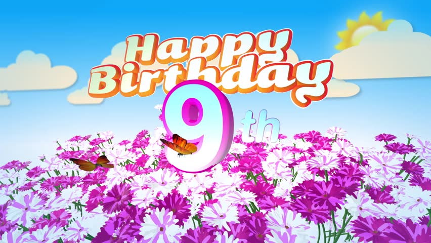 Animated Happy 9th Birthday Card with a Field of Flowers while two little Butterflys circulating around the Logo. Twenty seconds seamless loop. - HD stock video clip