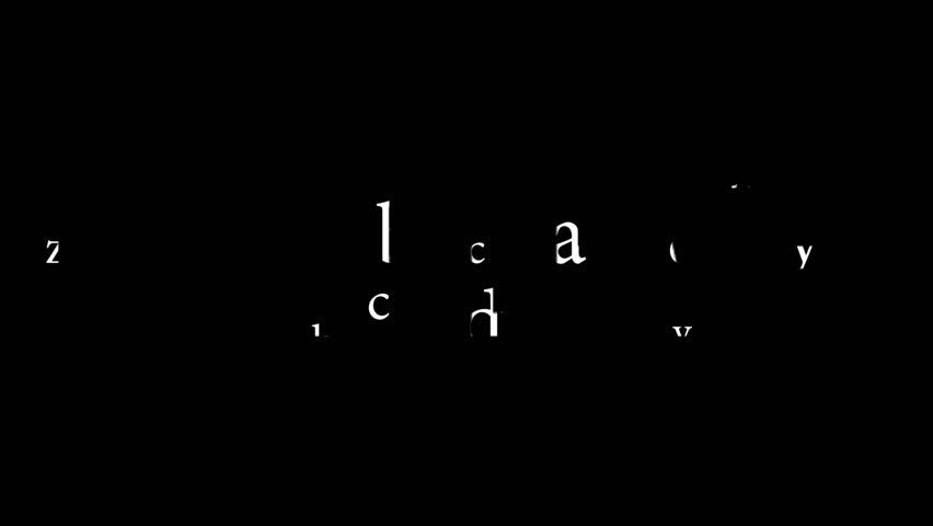 Screensaver for the next level. The letters collected in the words on a black background.