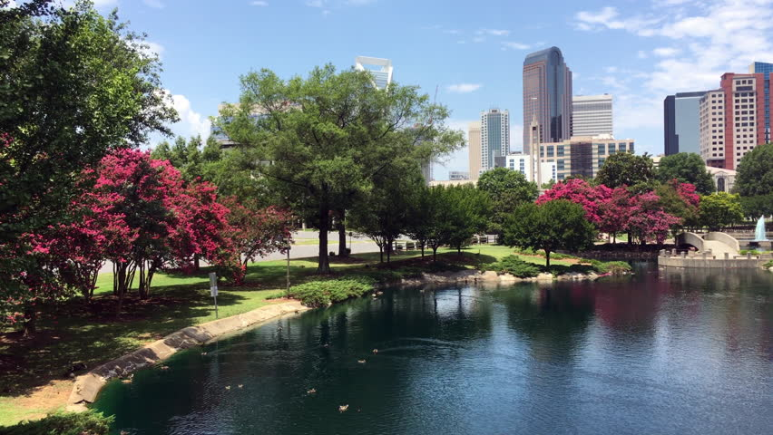 Charlotte, North Carolina/USA - July 8, 2016: Charlotte skyline as seen from Marshall Park.  Charlotte is the largest city in North Carolina.
