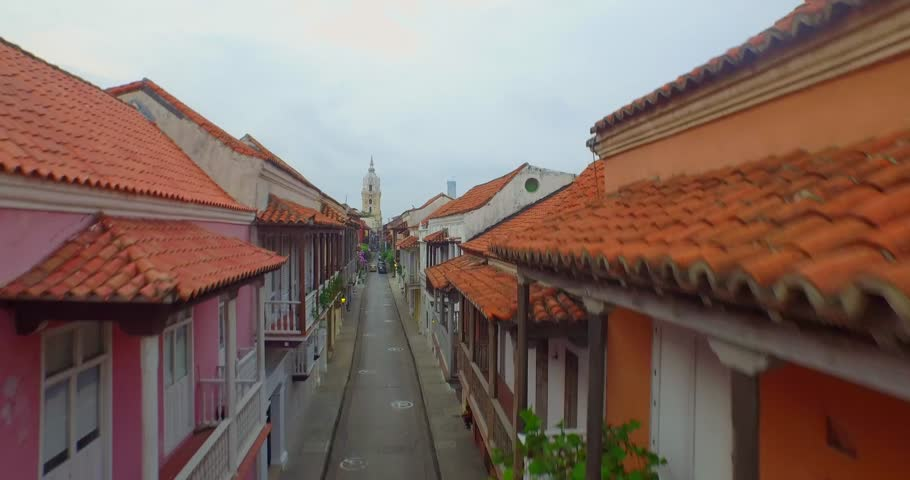 Aerial shot Cartagena, flying over colonial roof
